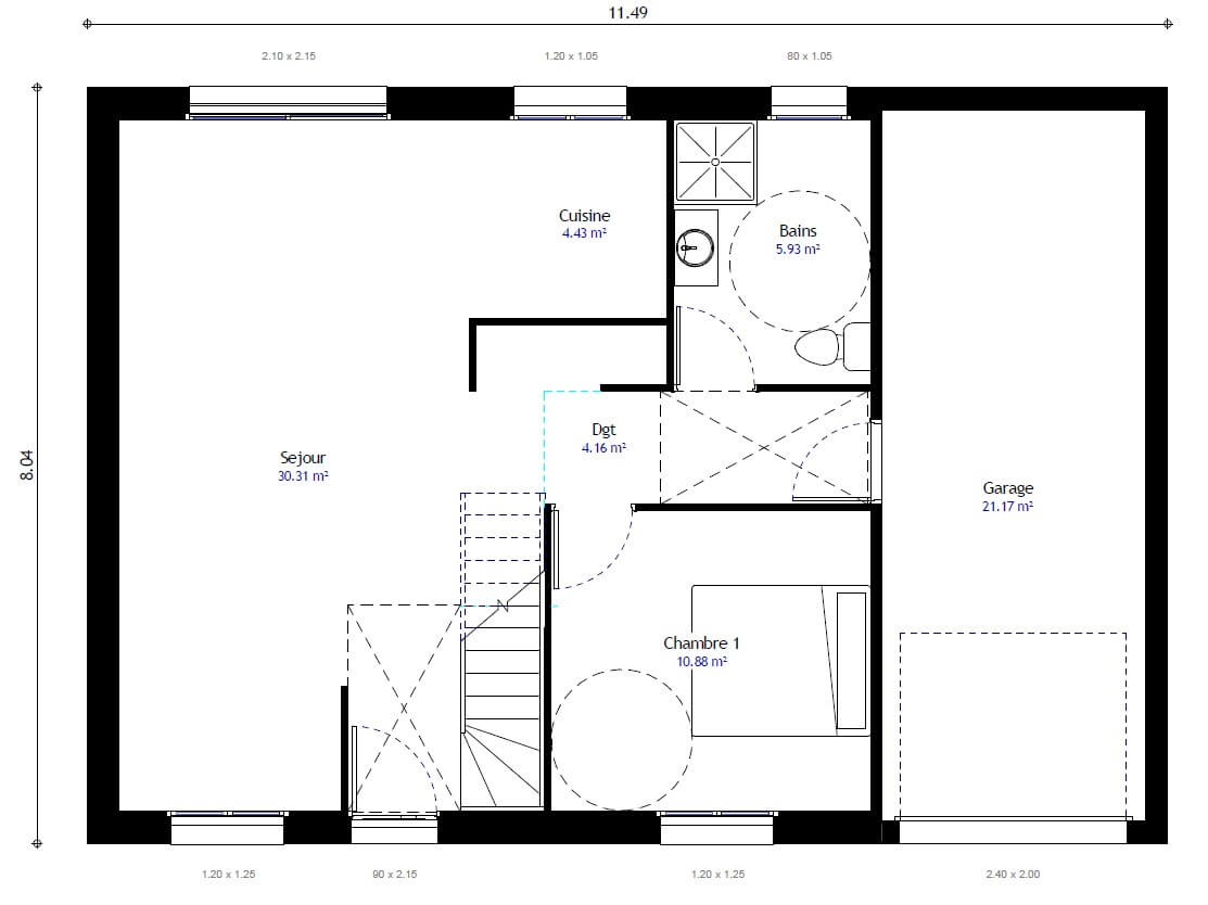 Plan 1de la maison individuelle Lesmaisons.com 97h Gi