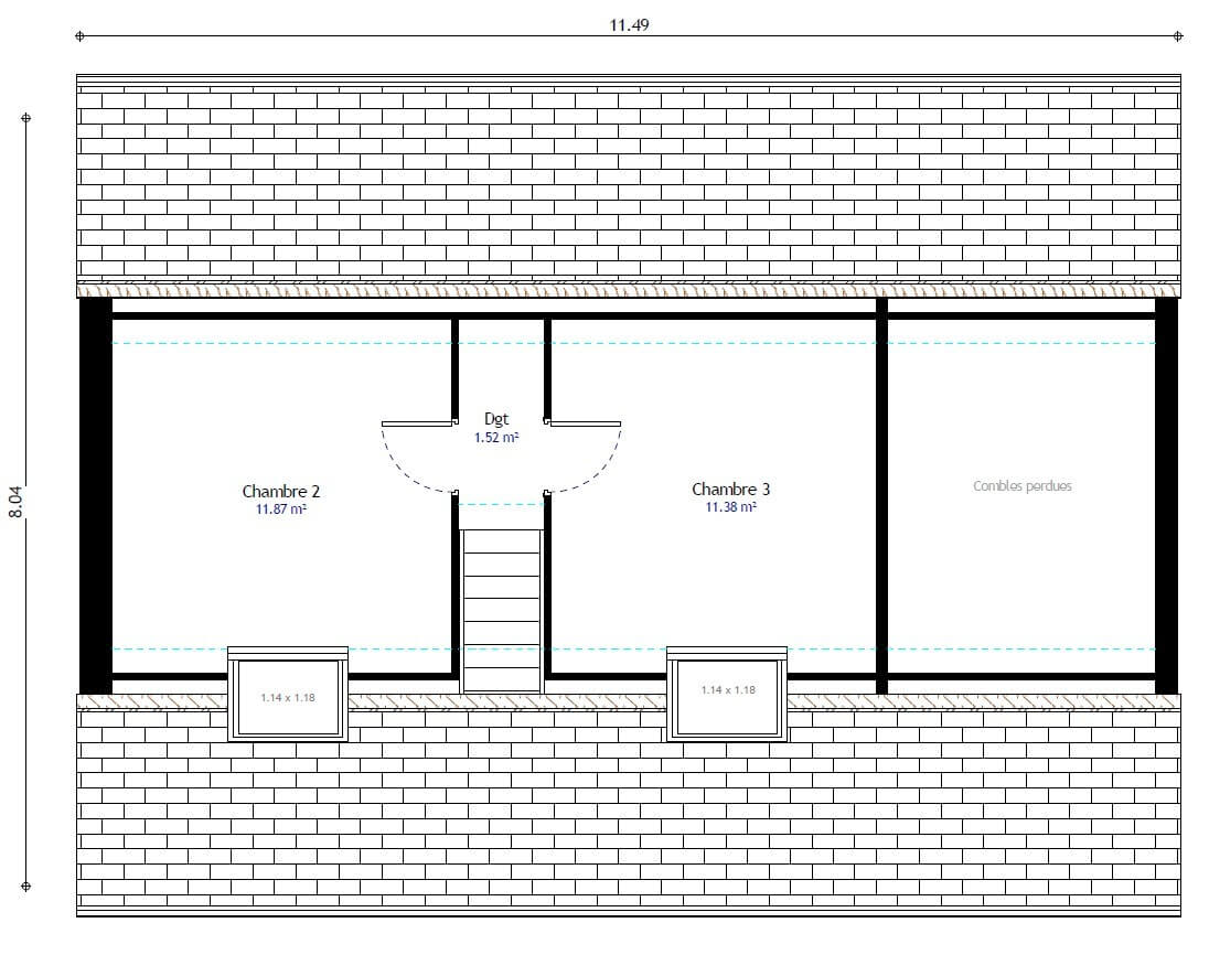 Plan maison 3 chambres Lesmaisons.com 97H GI