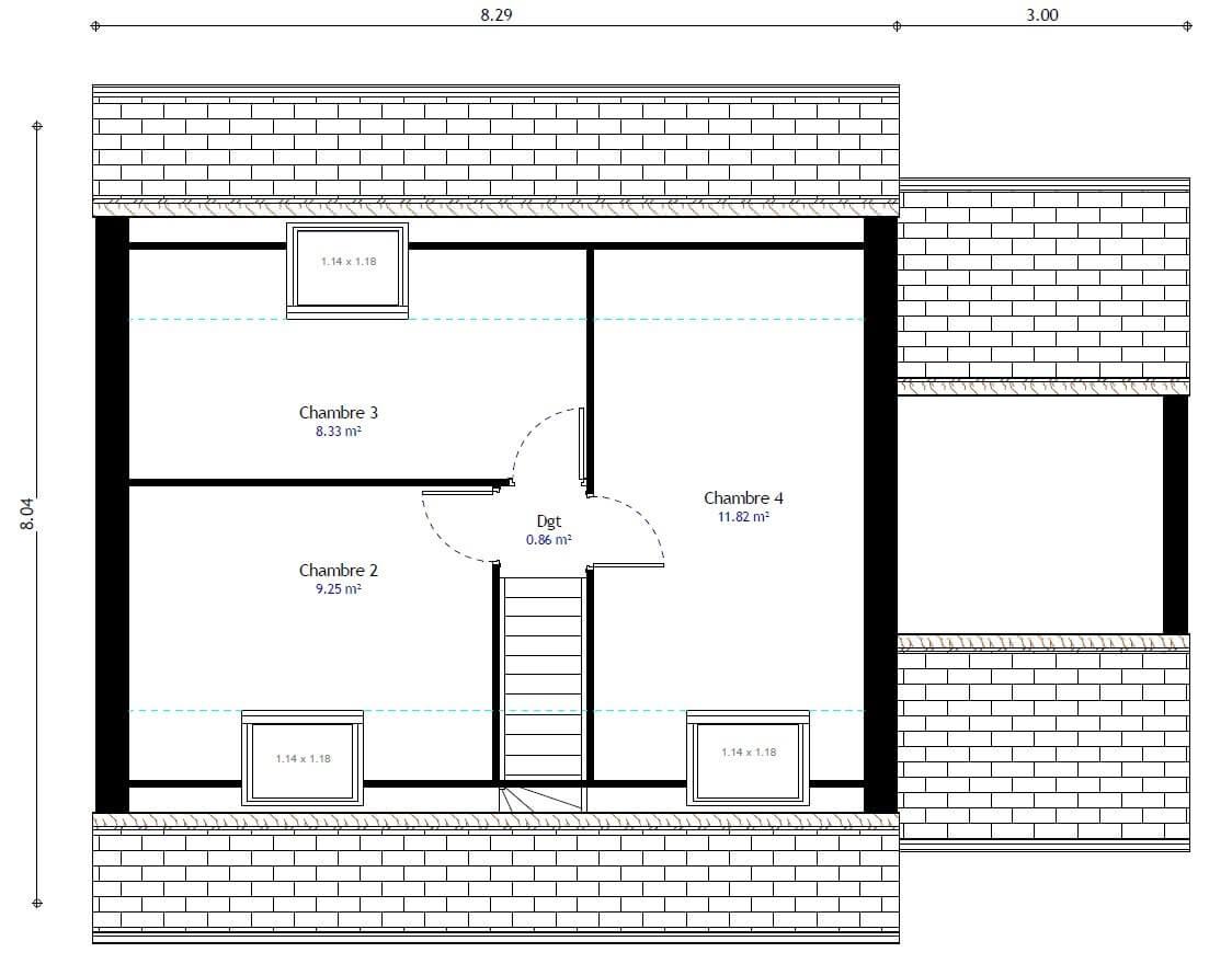 Plan maison 4 chambres HC 98