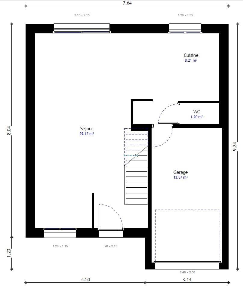 Plan maison 4 chambres Lesmaisons.com 99B