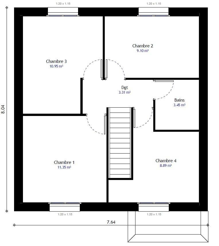 Plan 2de la maison individuelle Lesmaisons.com 99b
