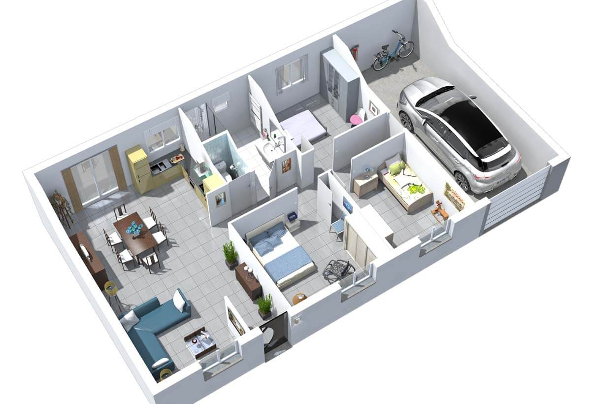 plan maison individuelle 3 chambres baya habitat concept. Black Bedroom Furniture Sets. Home Design Ideas