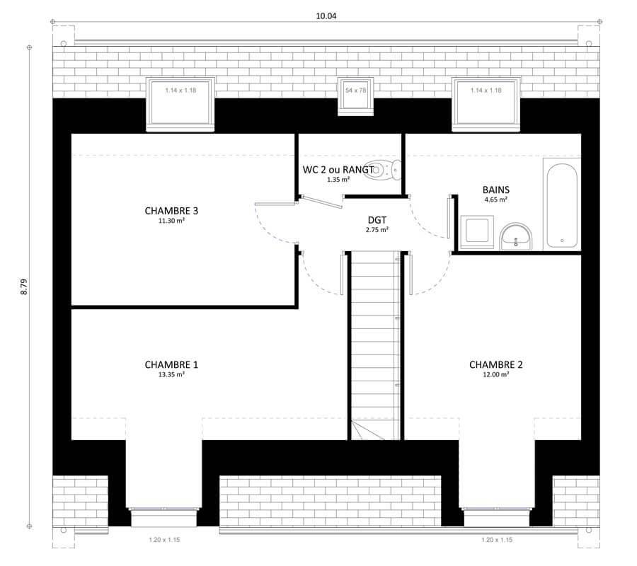 Plan 2de la maison individuelle Résidence Picarde Gaya