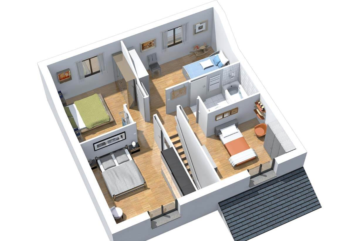 Plan maison 4 chambres Résidence Picarde inya