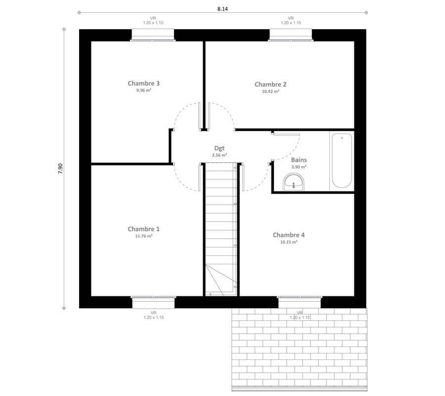 Plan 2de la maison individuelle Habitat Concept Inya