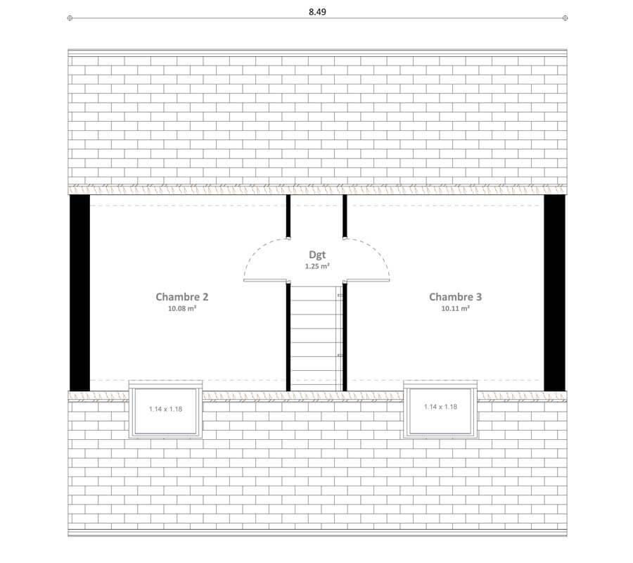 Plan maison 3 chambres Résidence Picarde loya