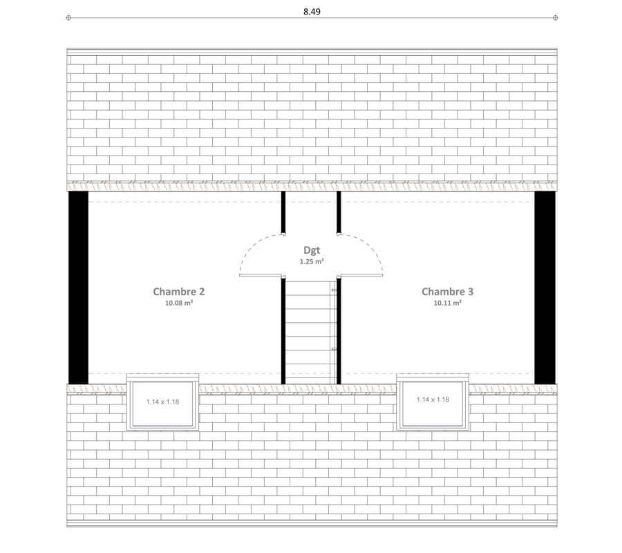 Plan 2de la maison individuelle Résidence Picarde Loya